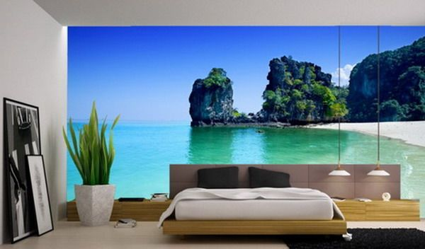 Superbe Beautiful Beach Murals For Modern Master Bedroom Interior