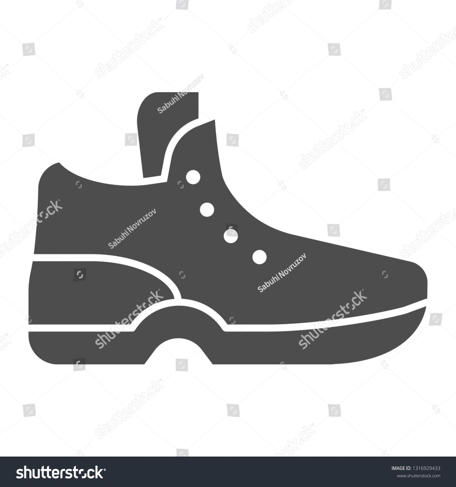Sneakers solid icon Sport shoe vector illustration isolated on