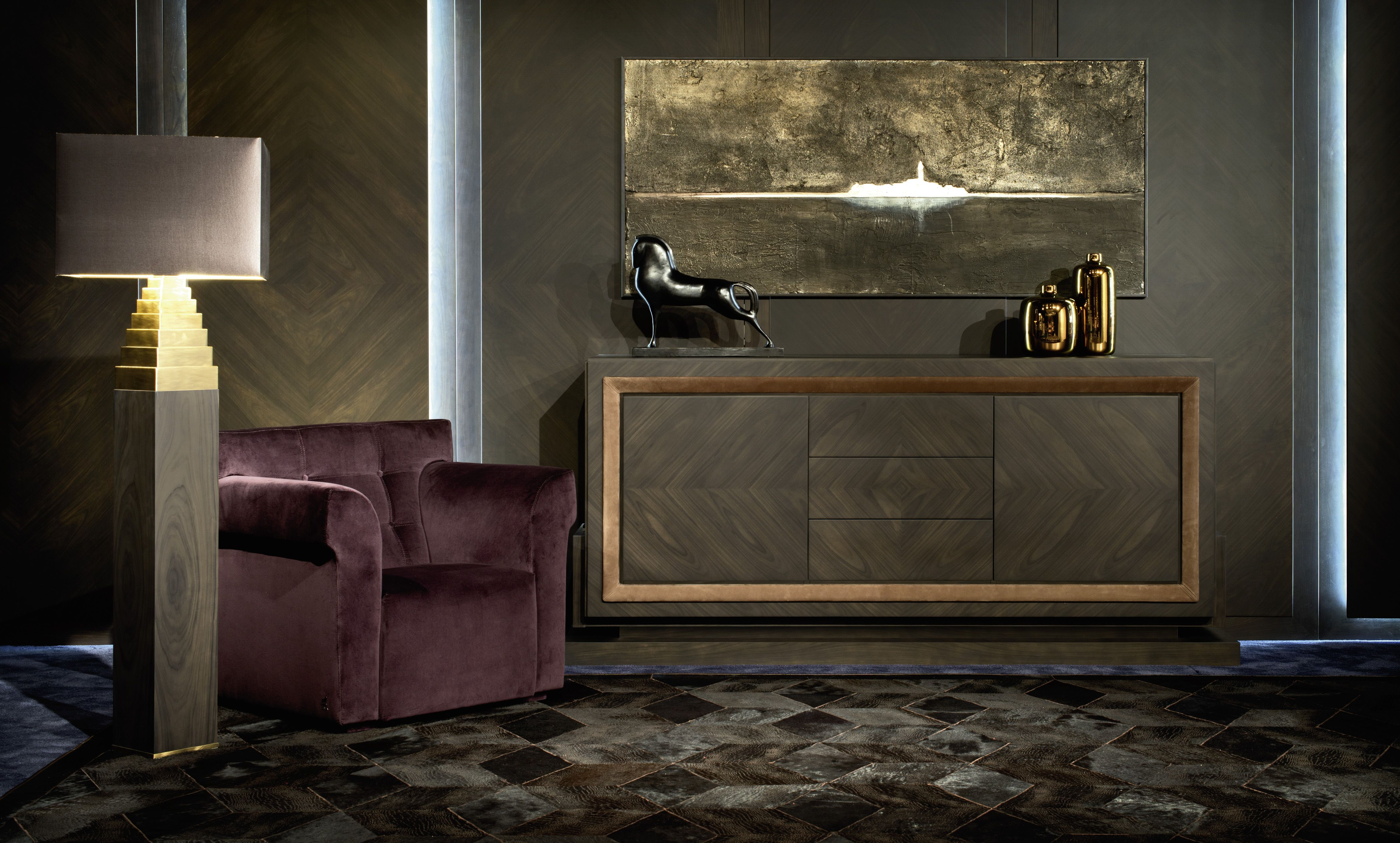 OLIMPIA sideboard in matt tobacco rosewood fum¨ Nabuk leather frame CHURCHILL small armchair in