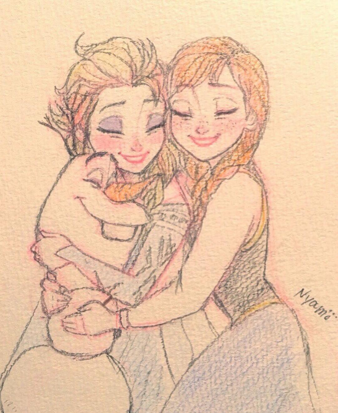 2015 12 17 I Love Warm Hugs Frozen Elsa Anna Olaf Disney Sketch Drawing Doodle Fanart Frozen Art Frozen Fan Art Frozen Drawings