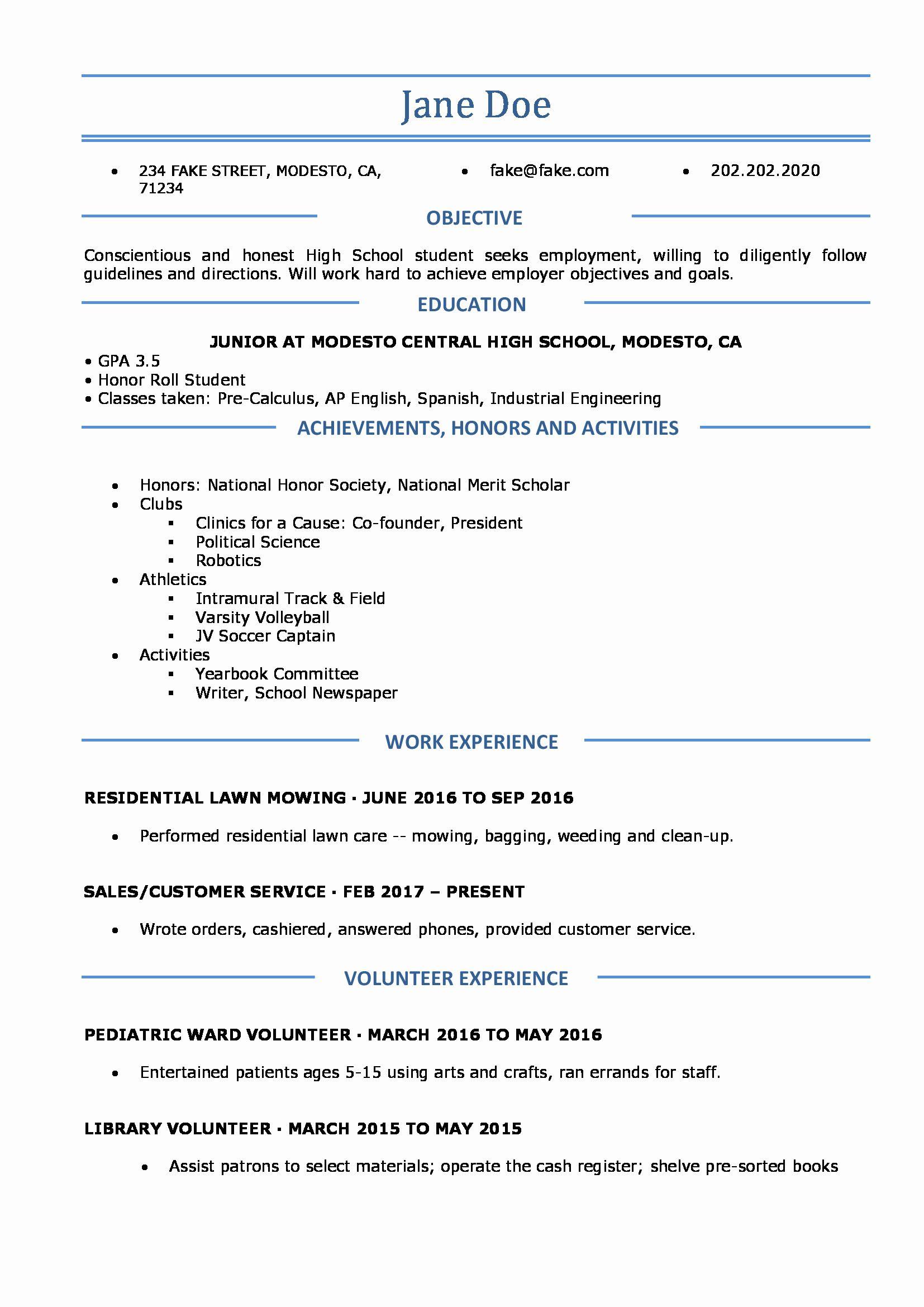 40 Resume High School Student in 2020 High school resume