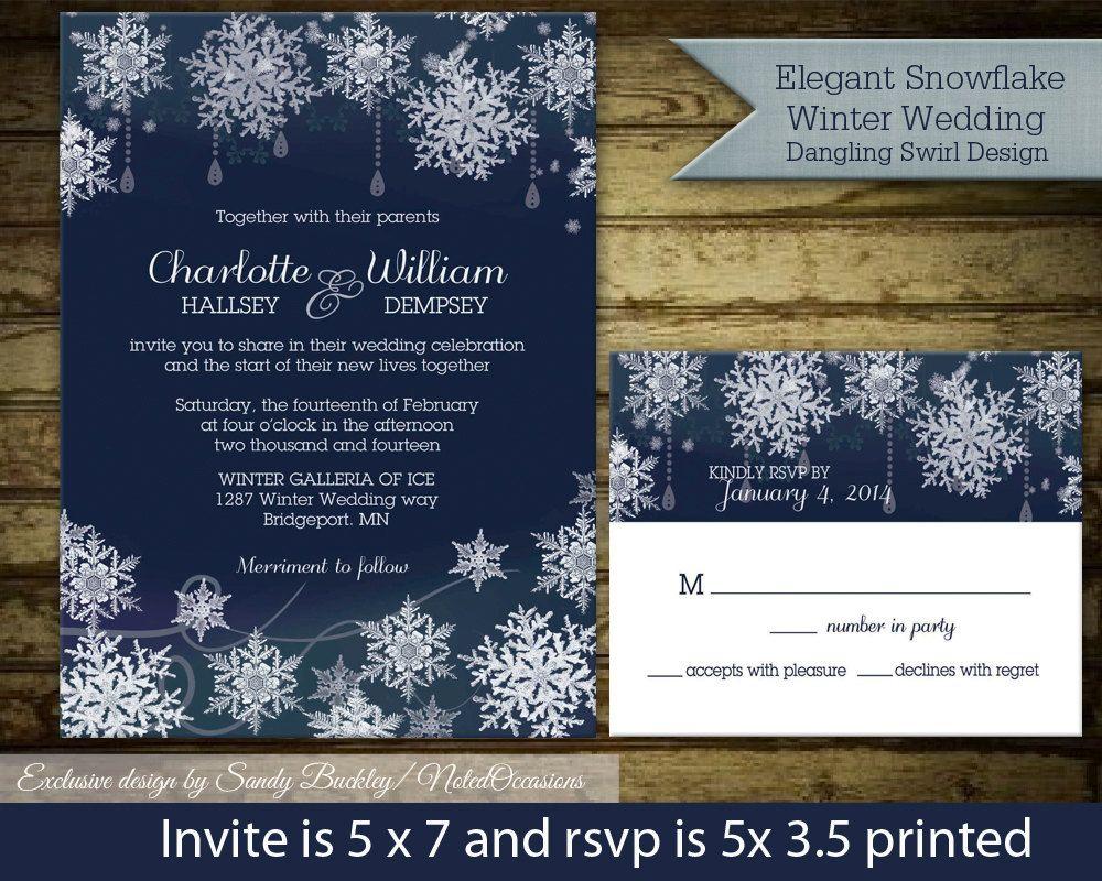 Winter Wedding Invitations Snowflake Wedding Printable Navy Blue