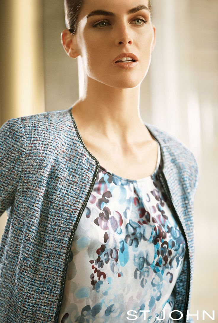 a12fc9ff783 A sharply-tailored tweed jacket in an unexpectedly chic palette of  turquoise and black is