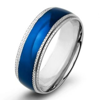 Men S High Polish Colored Stainless Steel Traditional Wedding Band 6mm Wide By West Coast Jewelry