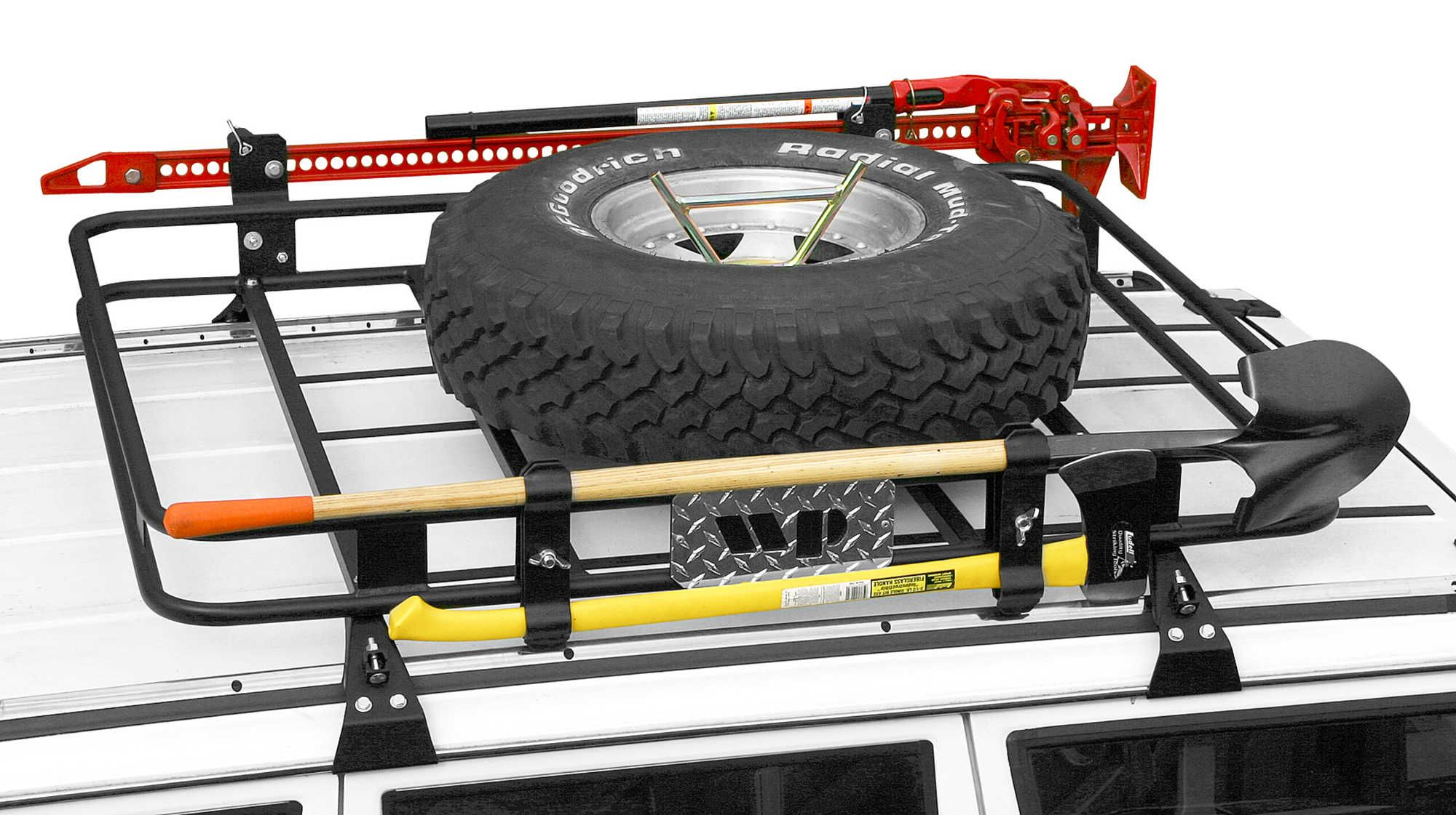 The Warrior Products Universal Spare Tire Bracket Can Be Installed On Safari Rack Baskets