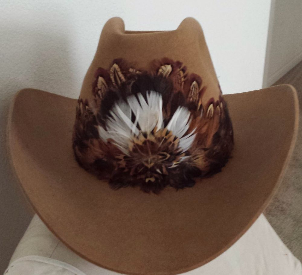 Vintage Stetson Cowboy Hat Brown Felt with Feather Band Men s 7 3 8   Cowboyhat  stetson  vintagecowboyhat 0e5742e1b75
