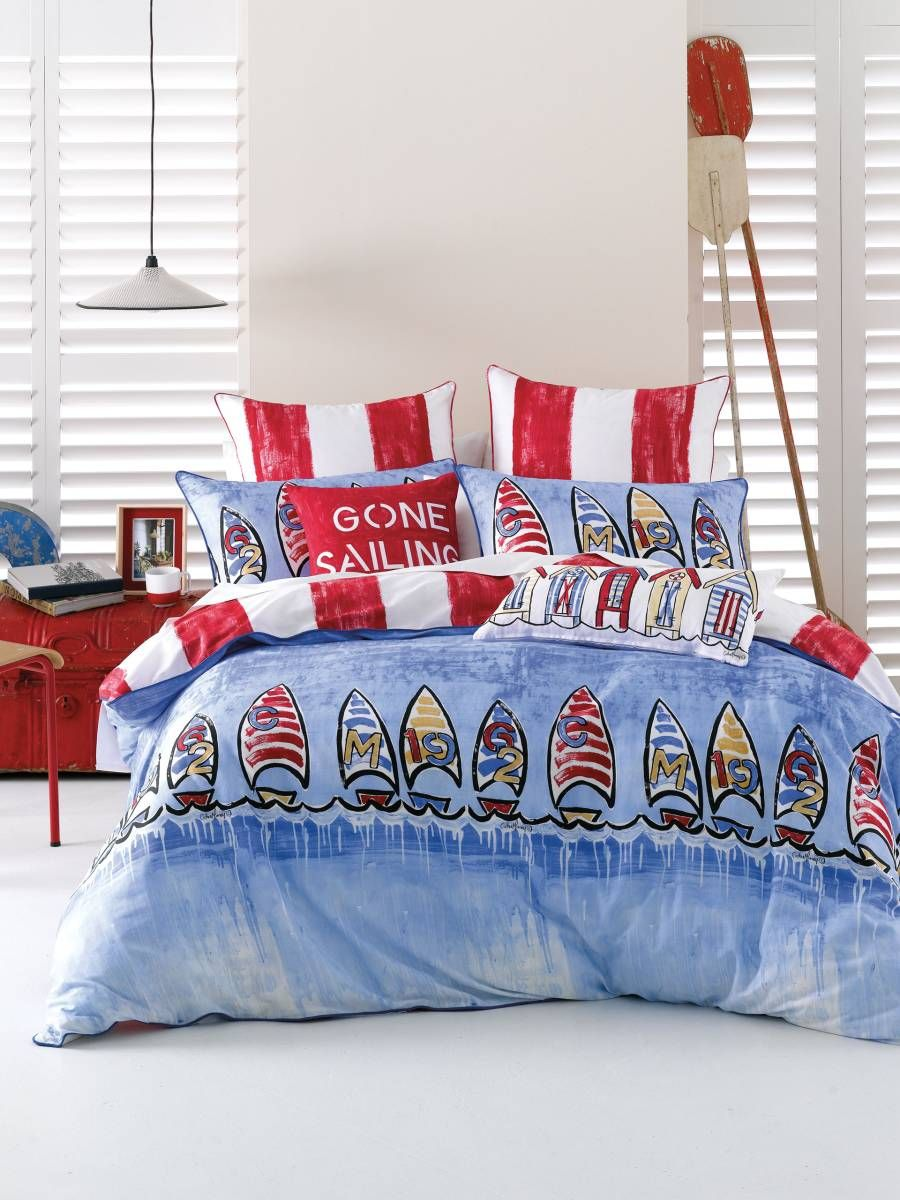 quilt cover set cathie maney blue gone sailing quilt covers