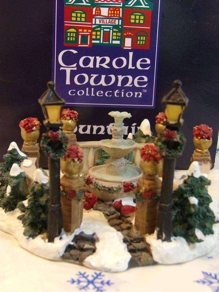 carole towne collection fountain christmas village collectible ebay