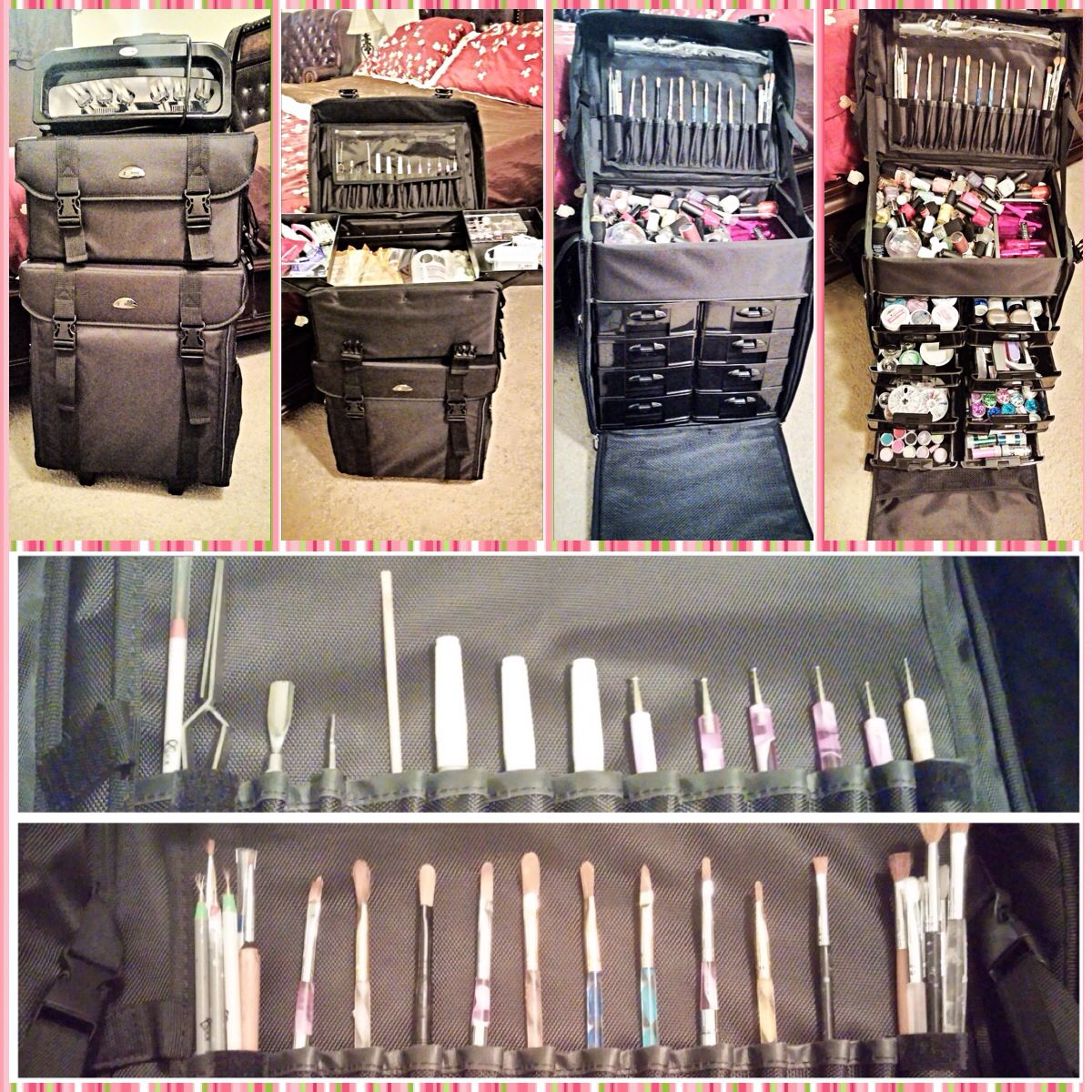 Got my nail supplies organized with a professional rolling cosmetic ...