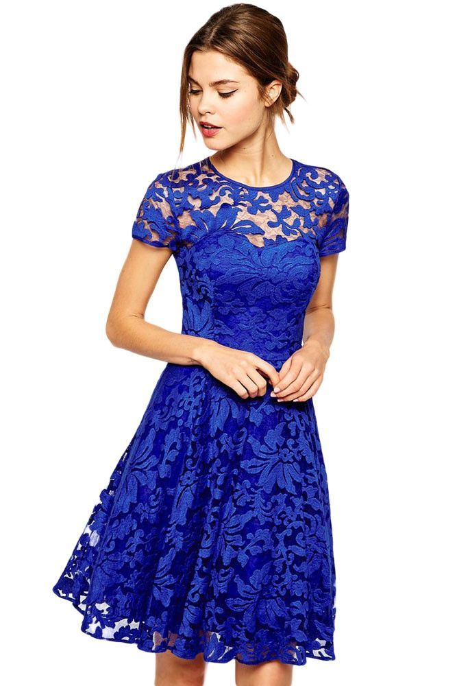 Charming Fairy Lovely Blue Floral Lace Skater Dress | Moldes para ...