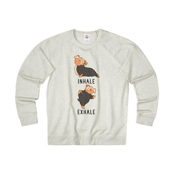 b9cb020edc Inhale Exhale Yorkshire Terrier Yoga Sweatshirt, Yorkie Dog lovers Shirt,  Funny Quote Pullover Sweat