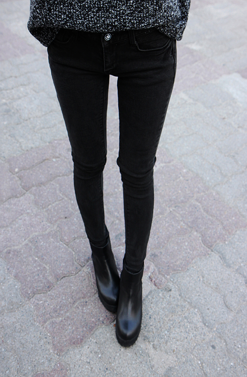 Black Boots Grey Jeans
