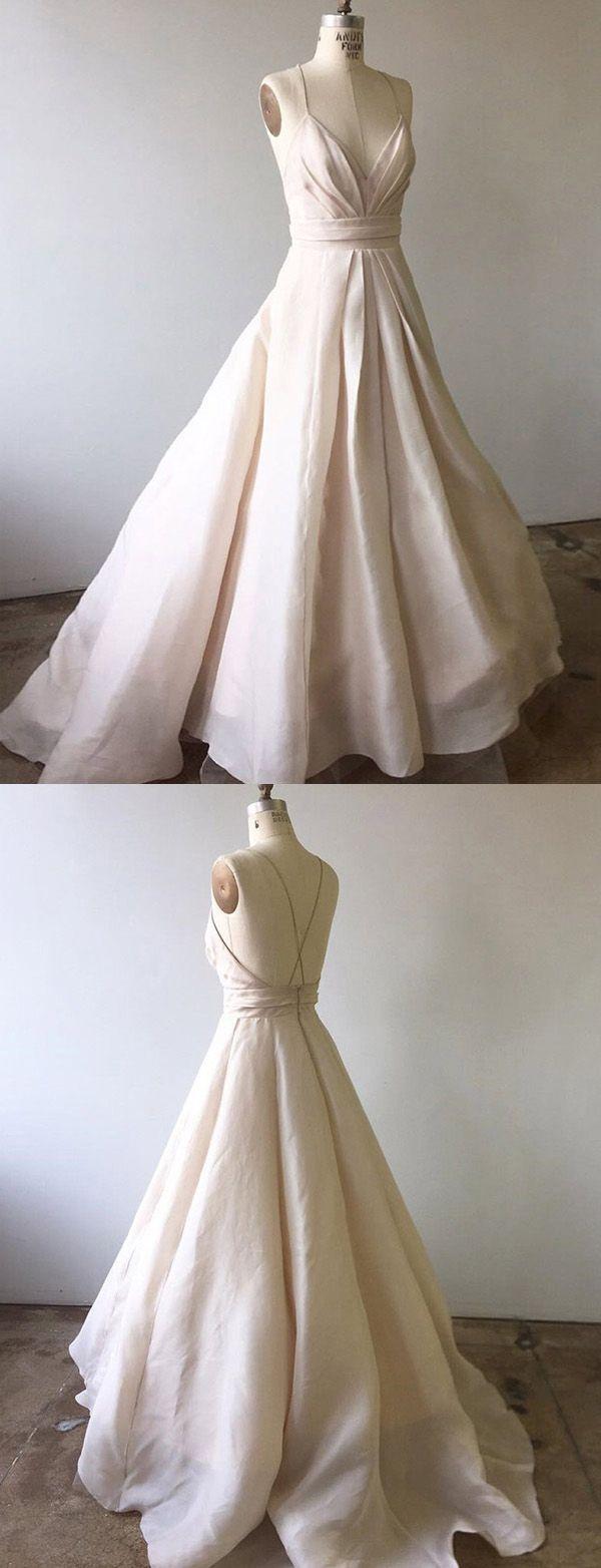Elegant a line spaghetti straps beige long prom evening dress in