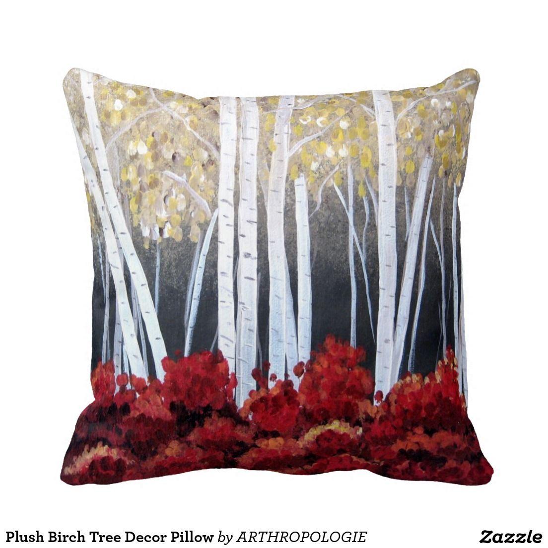 Plush Birch Tree Decor Pillow