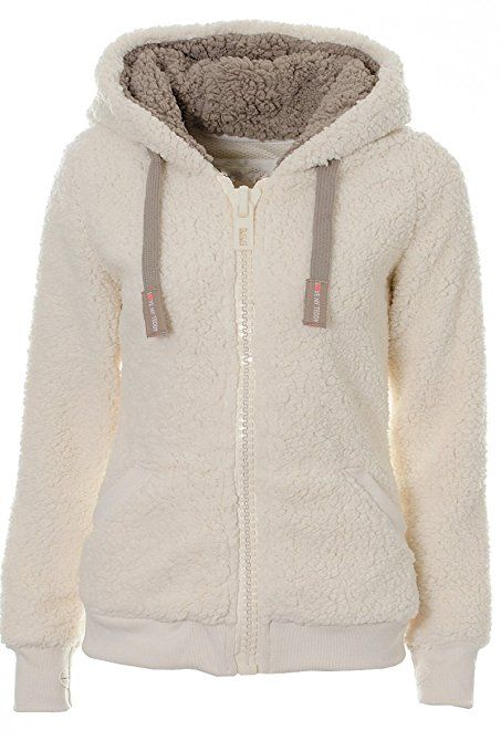 6dd30b7810a84 Ladies Womens Soft Teddy Fleece Hooded Jumper Hoody Jacket Coat Cream Taupe  S M L XL (S, Cream)