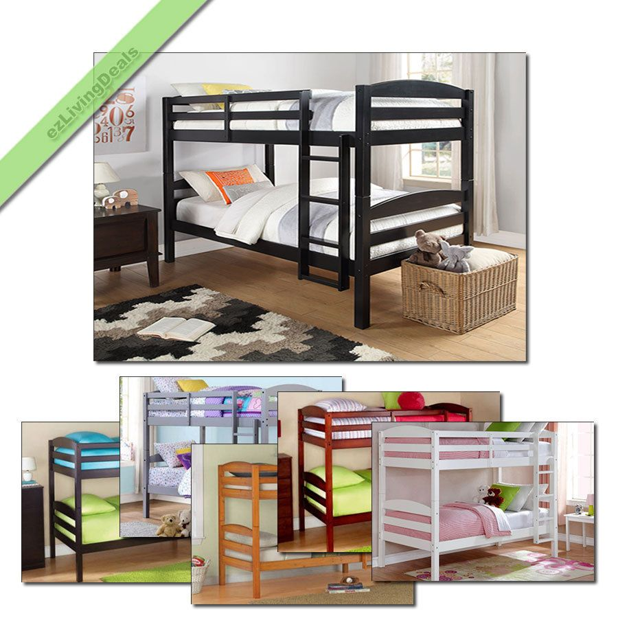 bunk beds twin over twin for kids girls boys convertible wood with