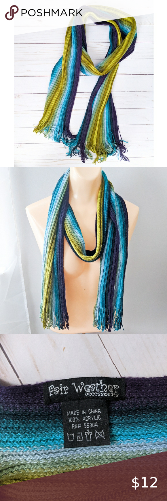 Photo of Fair Weather Accessories Colorful Striped Scarf Fair Weather Accessories striped…