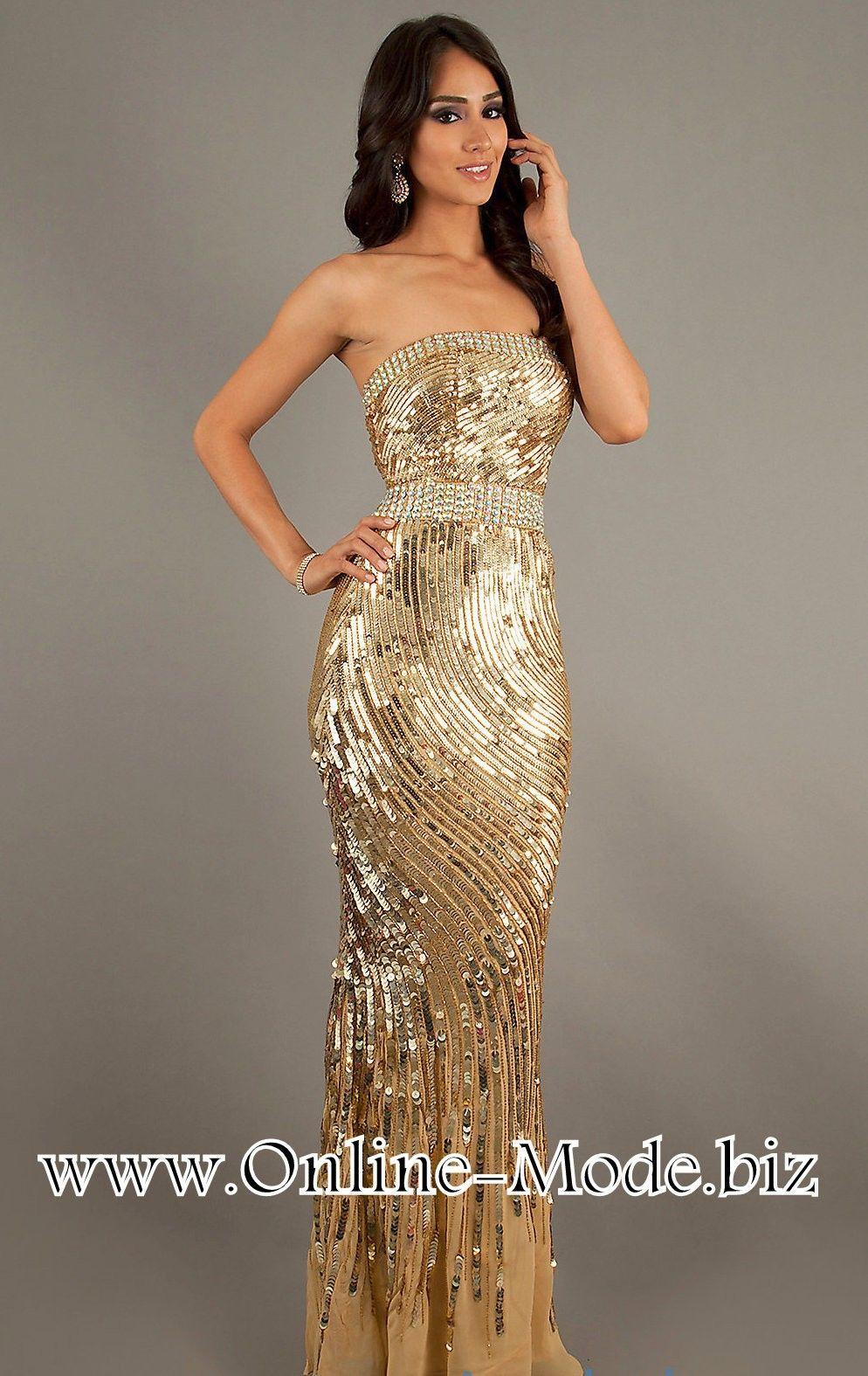 Trägerloses Bustie Abendkleid in Gold #abendkleid #abendmode