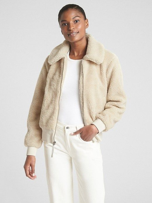 1d098951722 Gap Womens Teddy Bomber Jacket Cream