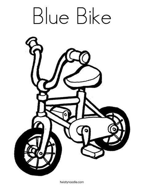 Blue Bike Coloring Page Tracing Twisty Noodle school