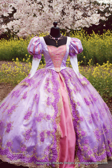 Rapunzel Costume Tangled Cosplay Dress Princess Adult Fancy Ball Gown Halloween