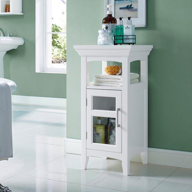 Fresh White Bathroom Floor Storage Cabinet