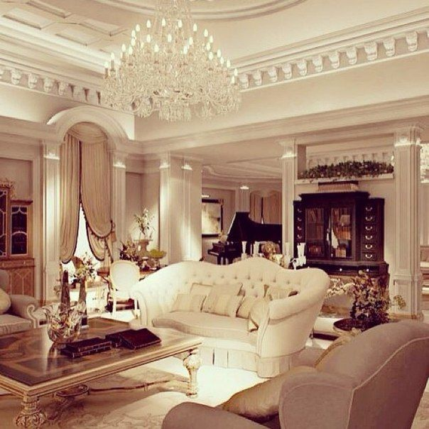 Classic Living Room With Crystal Chandelier, Dental Crown Moldings, Columns  And Archways, Traditional Living Room Furniture. My Dream Room!