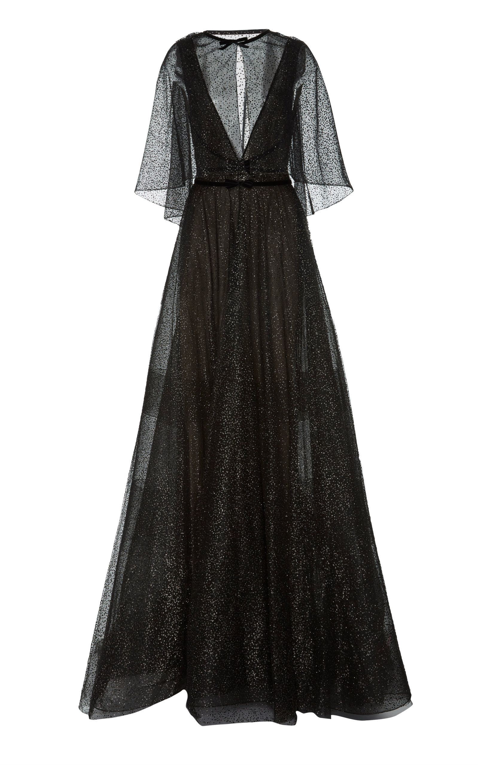 Vneck ball gown with cape black couture pinterest marchesa