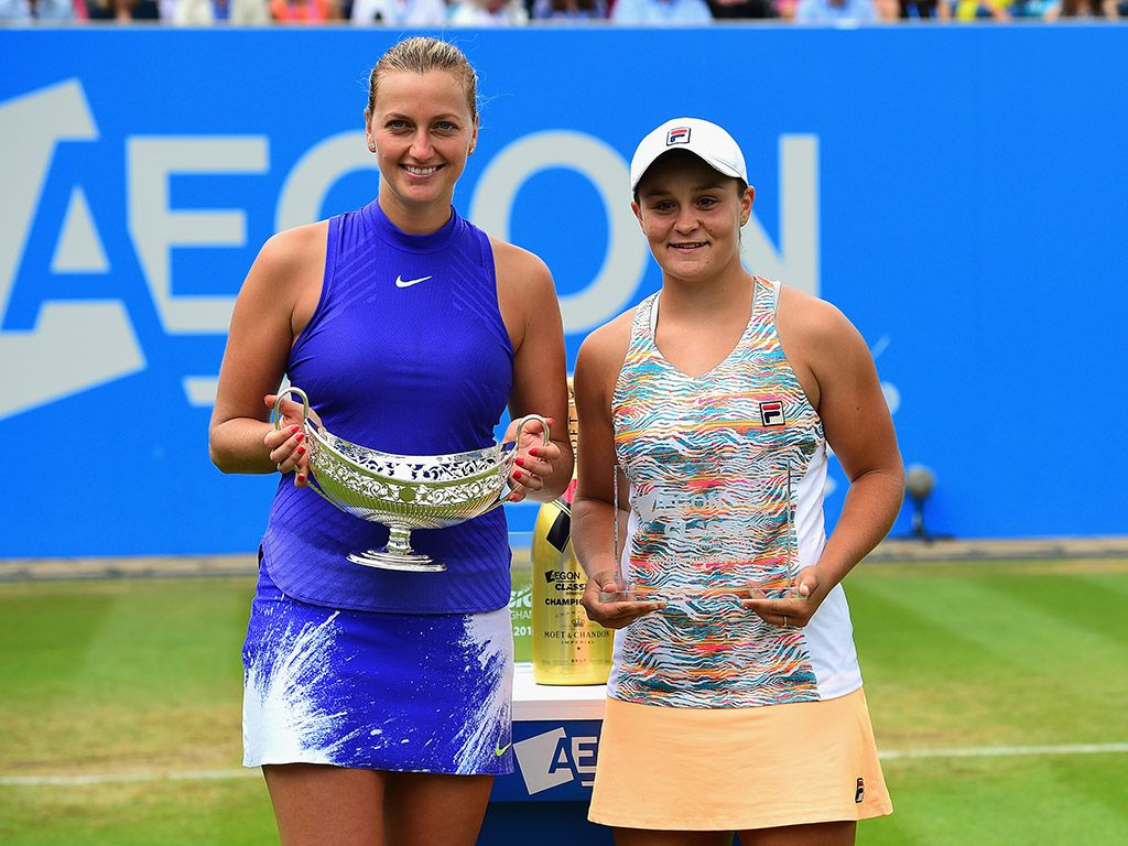 Petra Kvitova (L) beat Ash Barty in three sets in the final of the Aegon Classic in Birmingham. Ash Barty put up a great fight but ultimately could not stop Petra Kvitova winning her first title since returning to tennis after a knife attack. Barty, who was playing in her first grasscourt final and first WTA Premier-level decider, fell 4-6 6-3 6-2 to the Czech. Ash Barty triumphed in doubles a short time later with compatriot Casey Dellacqua.