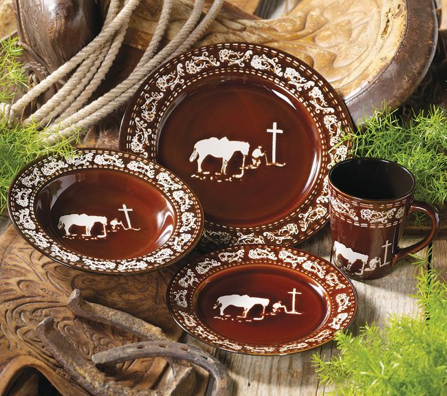Praying Cowboy Dinnerware Set 16 Pcs Have These They Are Beatiful