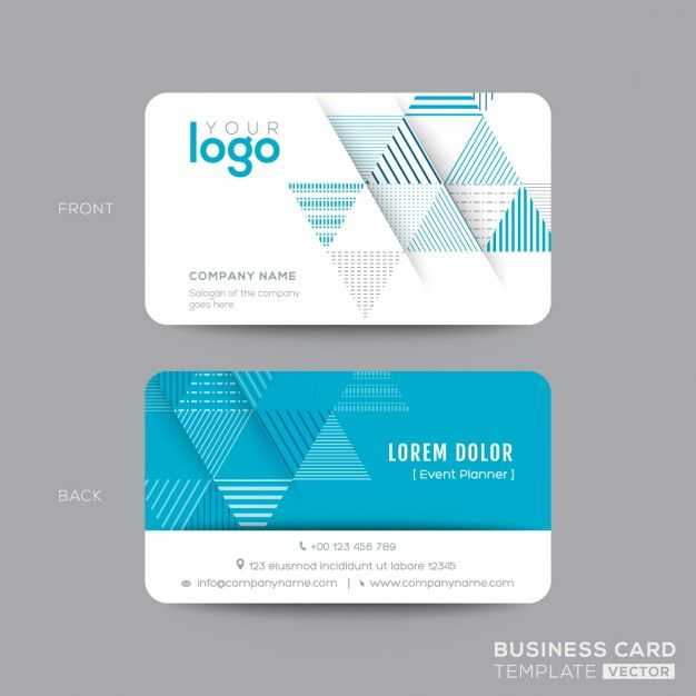 Aqua Blue Triangle Conception De Carte Visite Moderne Vecteur Gratuit Business Card Design Free