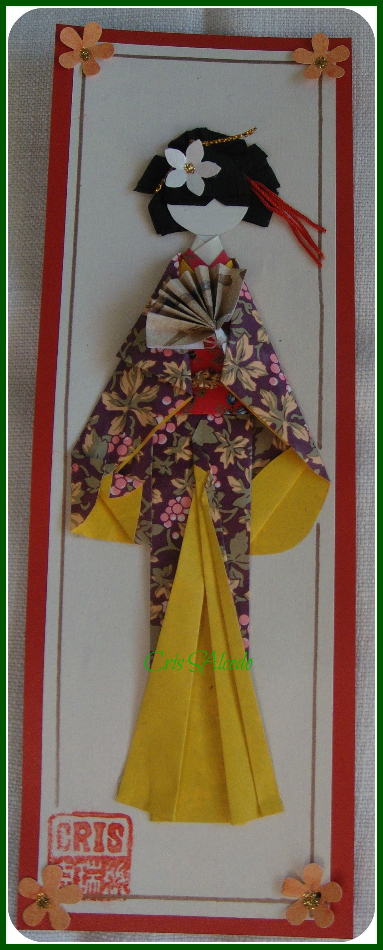 handmade greeting card ... geisha del sol ... tall and narrow ...