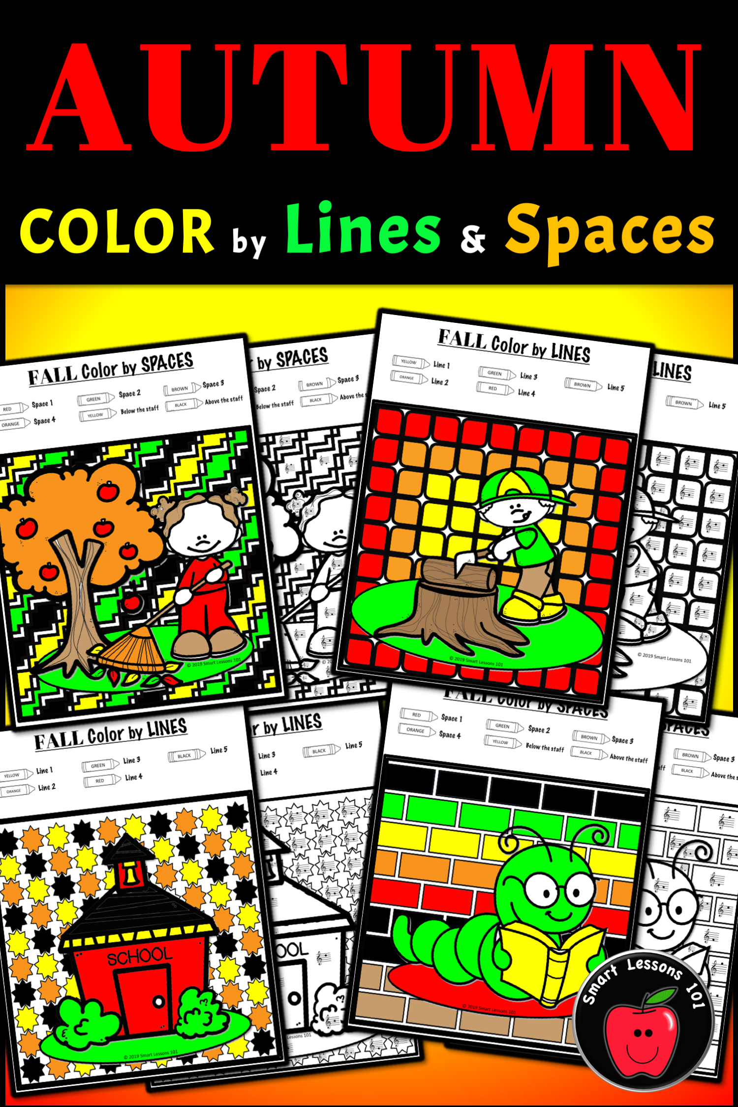 Distance Learning Fall Music Color By Code Worksheets Note