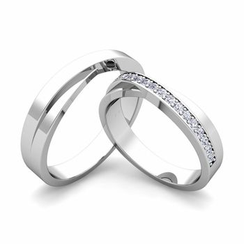 Infinity Wedding Bands for Him and Her set with Diamonds a
