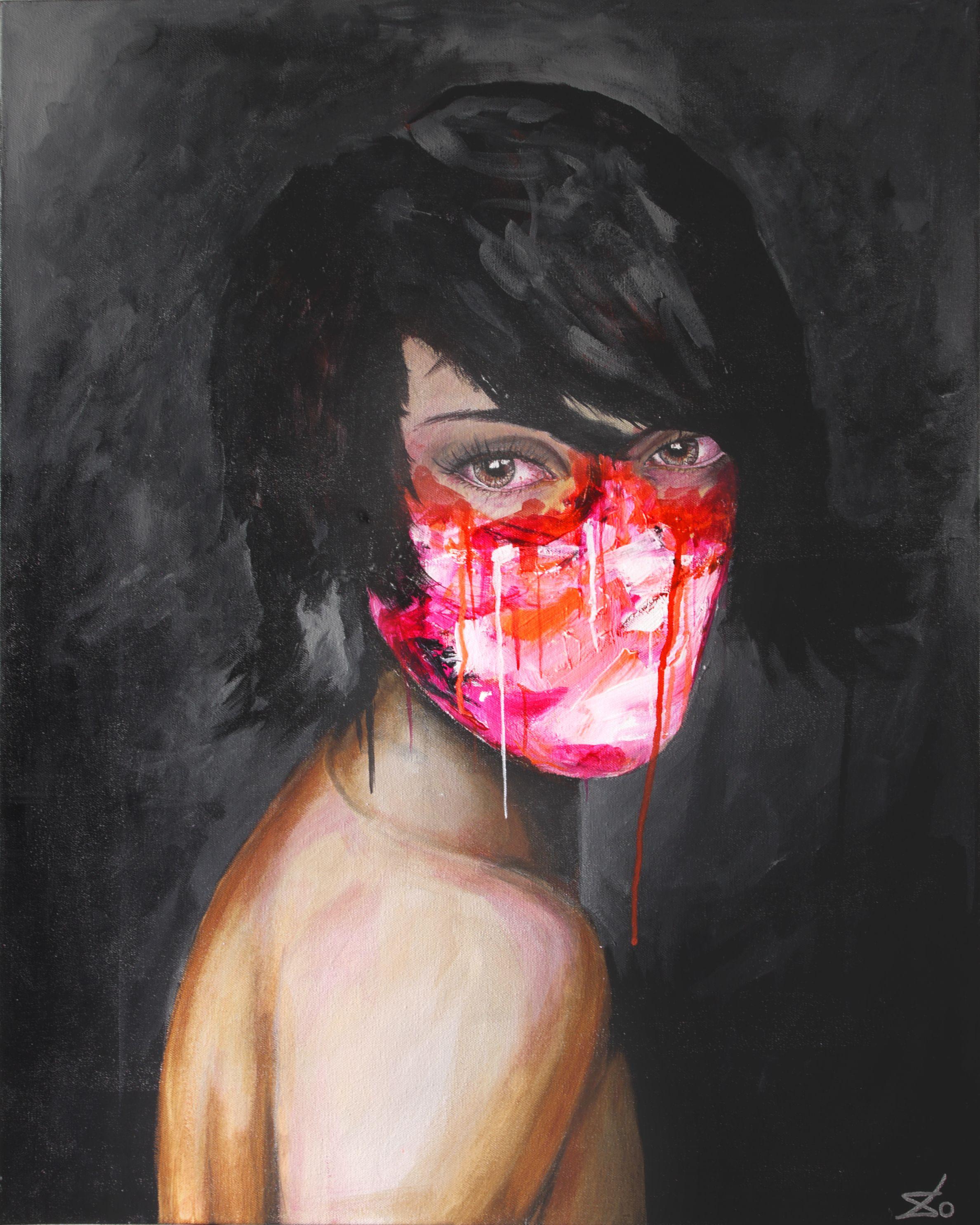 "For Sale: Ojos Rojos by Stirklo | $250 | 24""w 30""h | Original Art | https://www.vangoart.co/stirk/ojos-rojos @VangoArt"