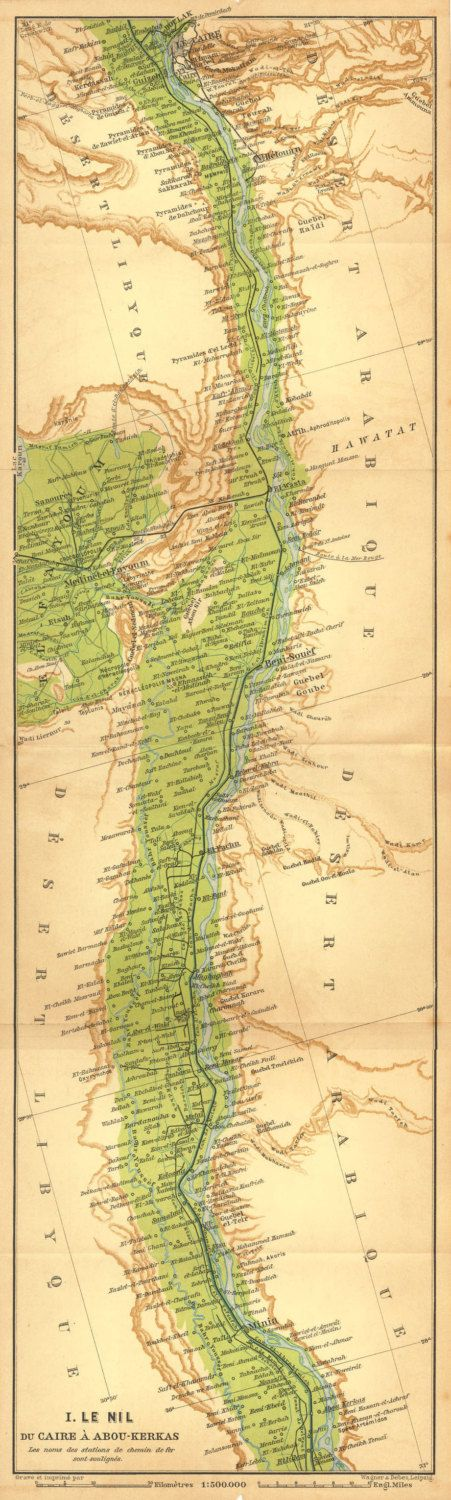 Antique Map River Nile from Cairo to Abu Kerkas Egypt 1910