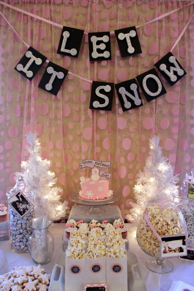 sweets table backdrop pink winter onederland birthday party by pastiche events