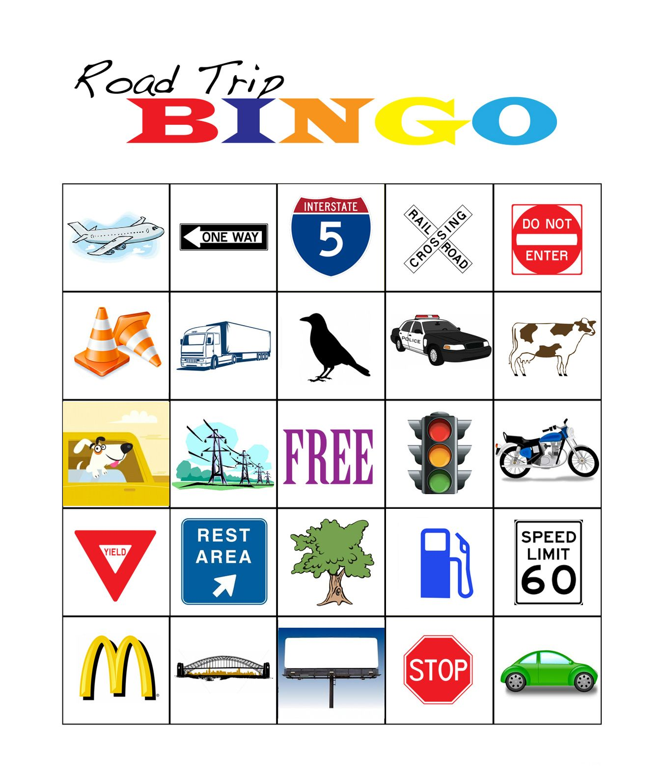 This is one of the bingo boards I made for my up ing road trip