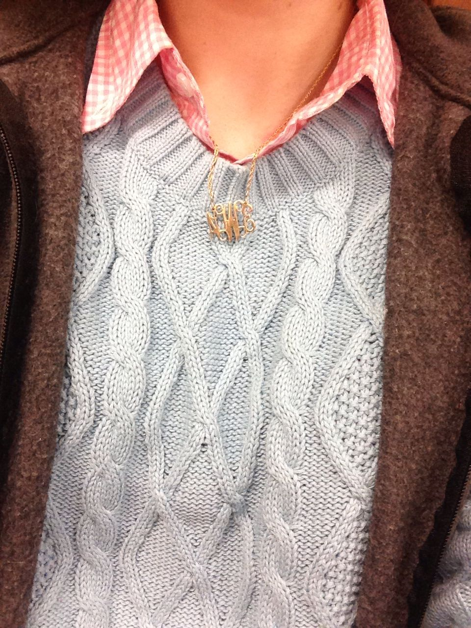 Jcrew Gingham shirt with cable knit sweater and Columbia vest