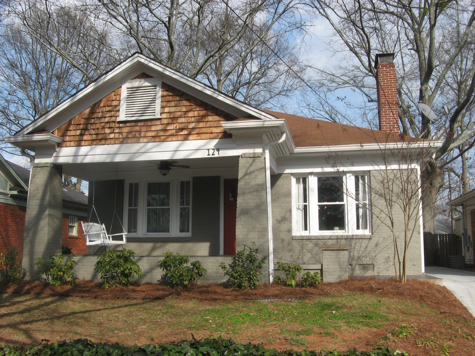 Painted brick with red roof Painting Brick Houses Pinterest