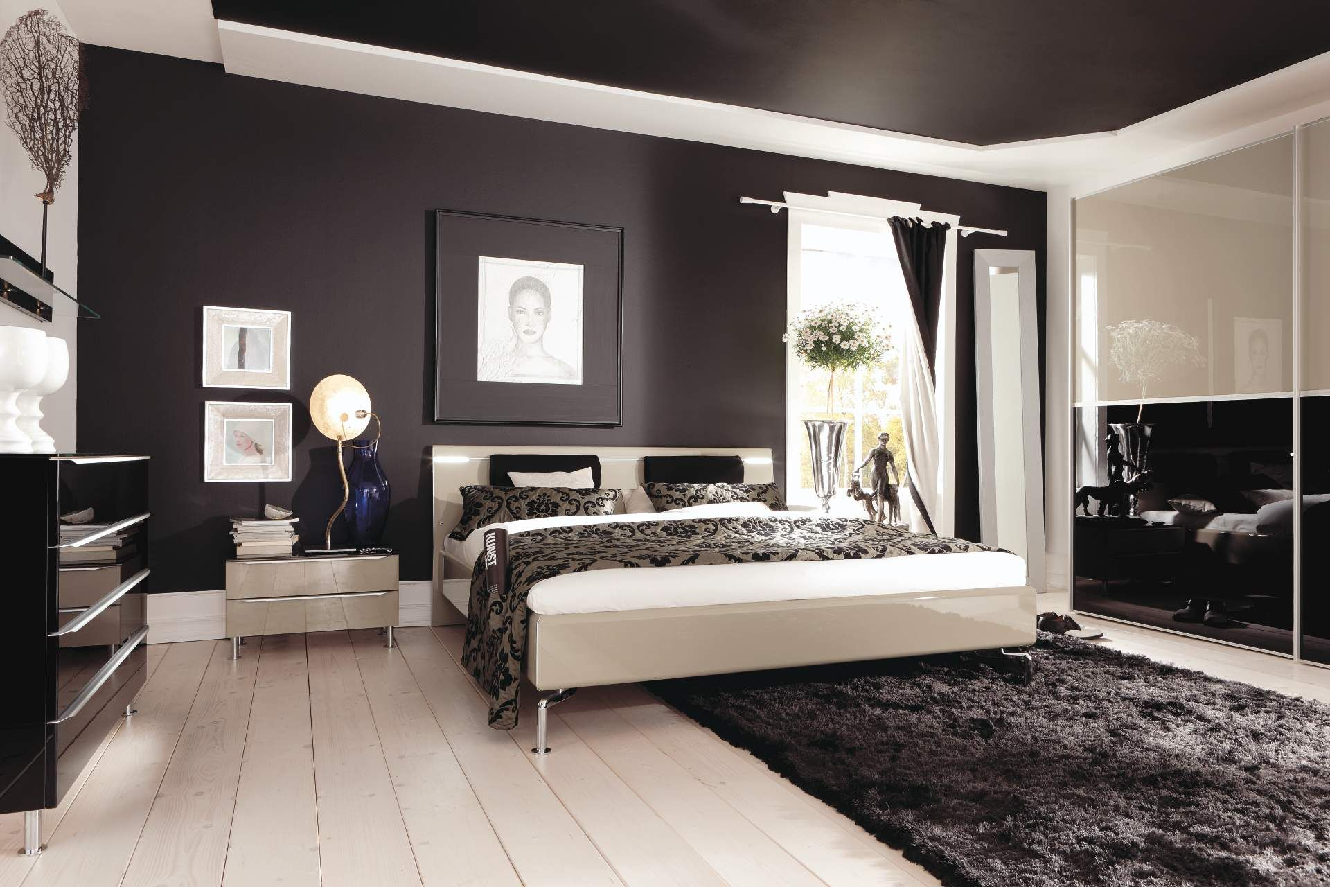 Bedroom Minimalist Black And White Italian Bedroom Furniture Design