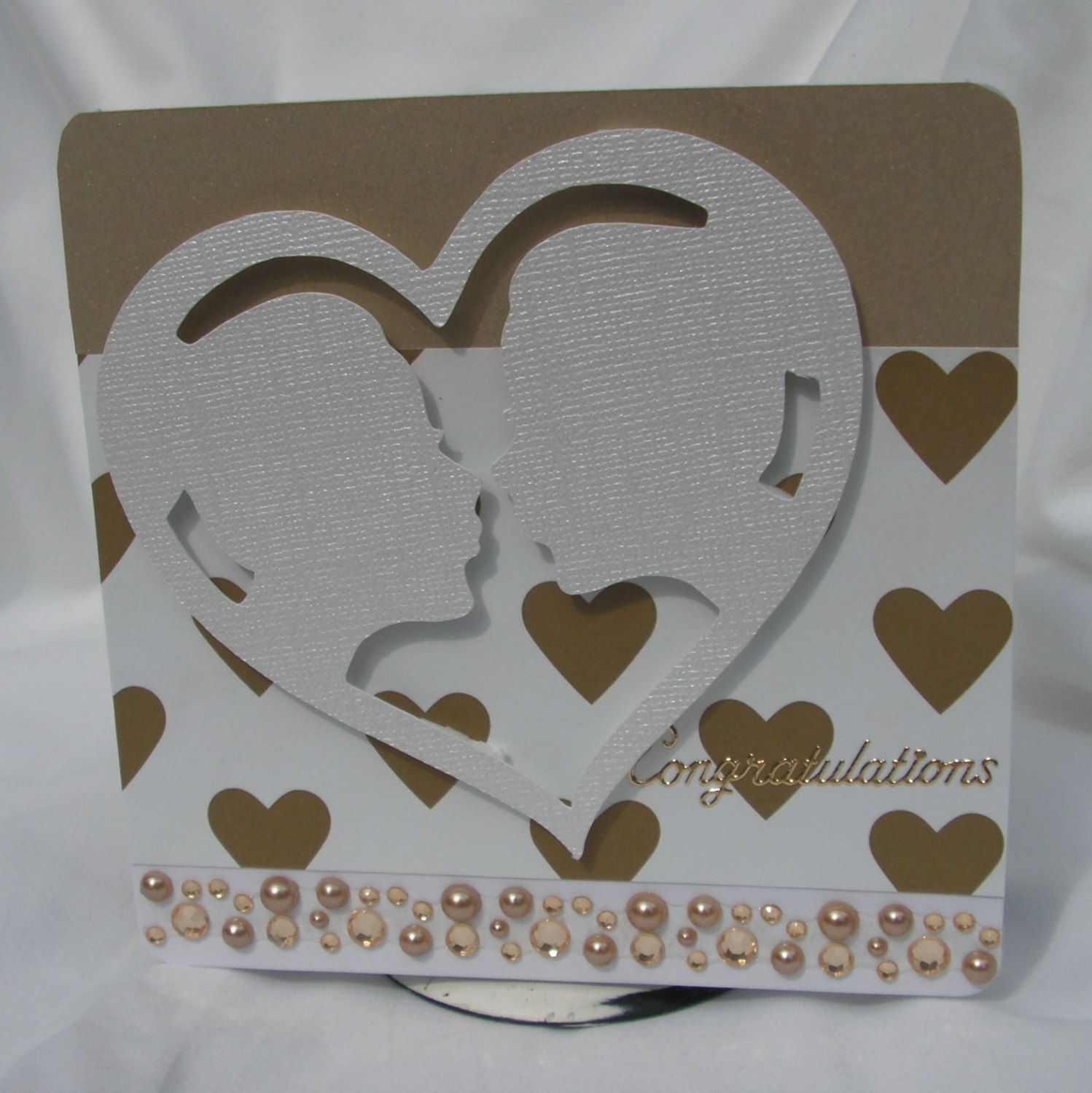 Gold Hearts Lesbian Wedding Greeting Card By Playsnicelywithpaper On