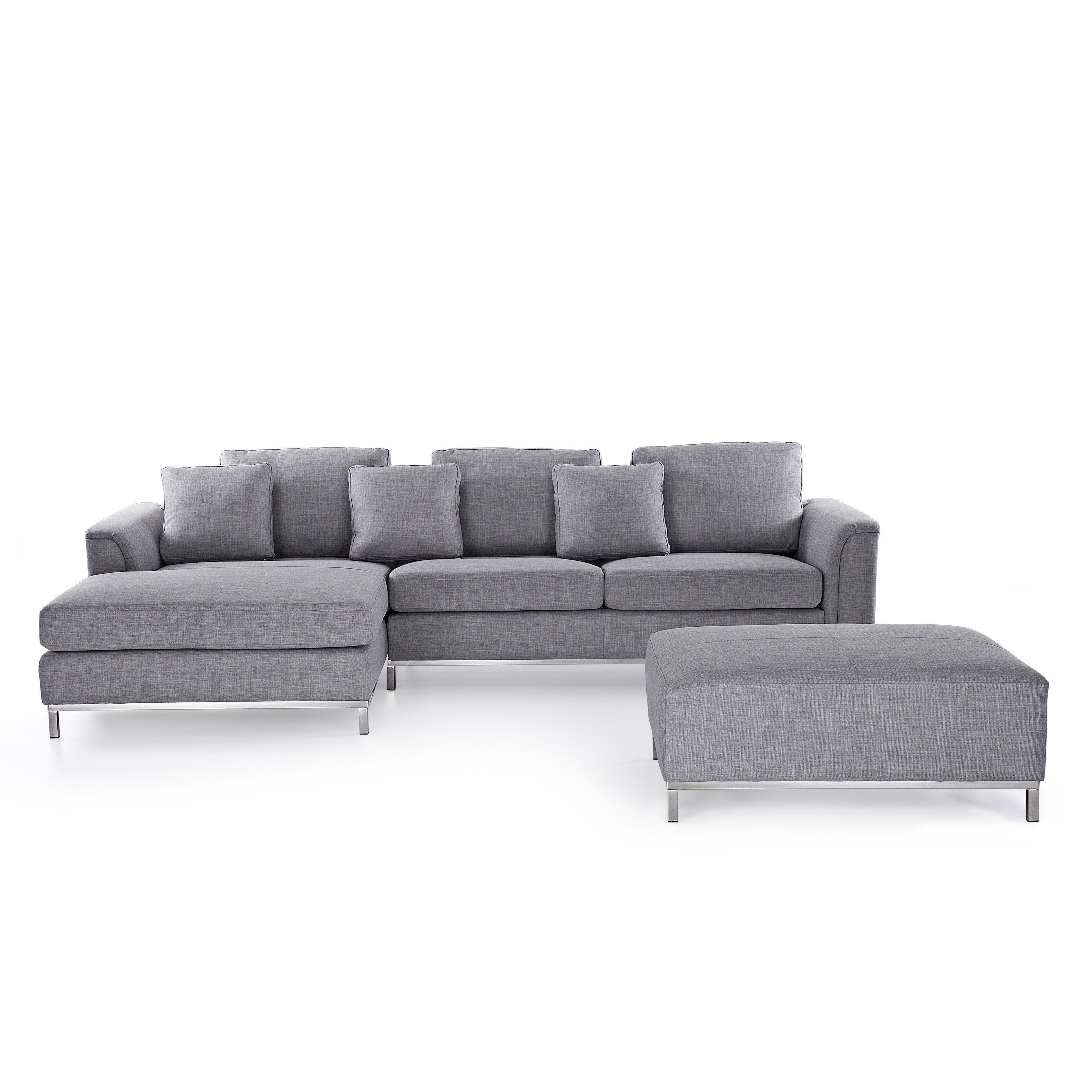 Beliani Oslo Modern Sectional Sofa with Ottoman Oslo Light Grey