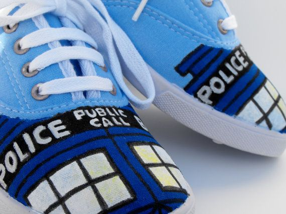 TARDIS Hand-painted Sneakers ~ By Elegant Enthusiasm on Etsy. $27.00