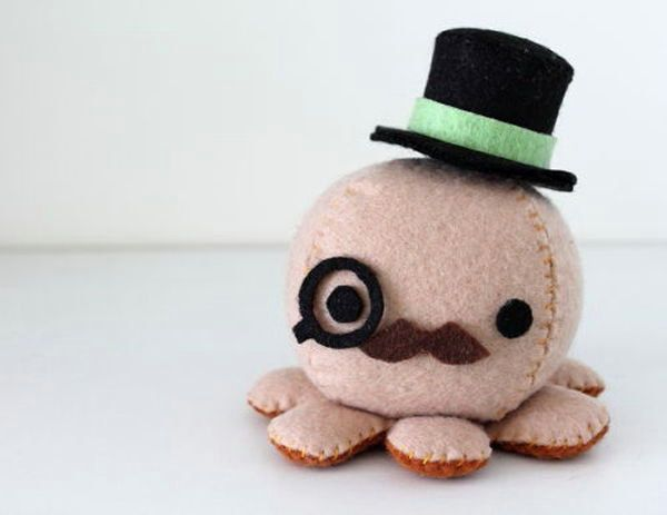 Felt octopus plush patterns and instructions via by for Felt plushie templates