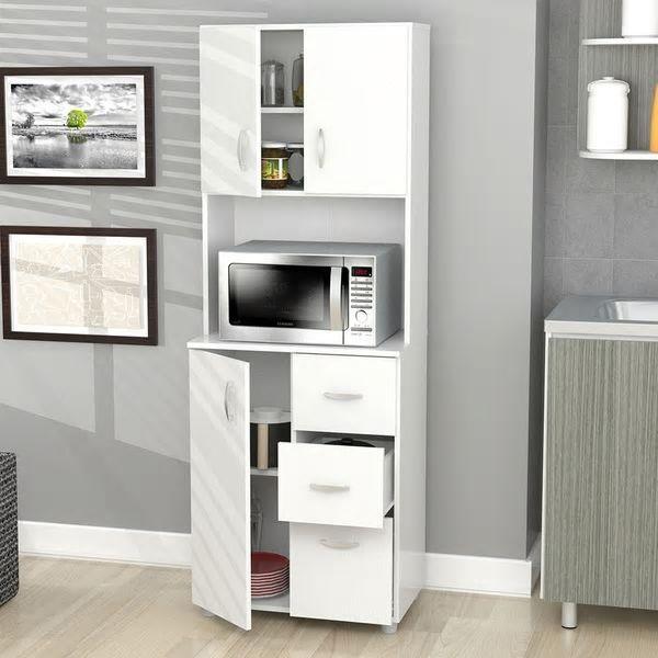 White Kitchen Pantry Storage Organizer Tall Cabinet Cupboard Drawer