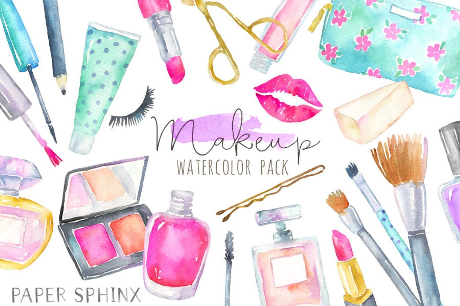 Watercolor Makeup Clipart Cosmetics Clipart Fashion And Etsy Makeup Clipart Clip Art Makeup Cosmetics