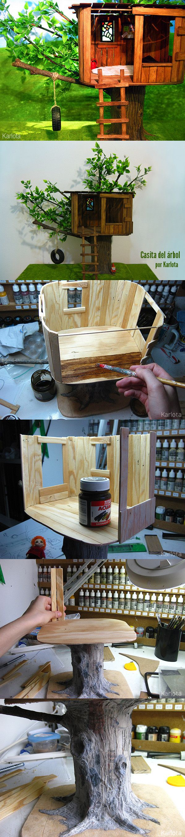 You can see the tree which this tree house castle clings to through - Dollhouse Tree House Miniature Diy This Is A Perfect Build On For The Coffee Can Tree Tutorial