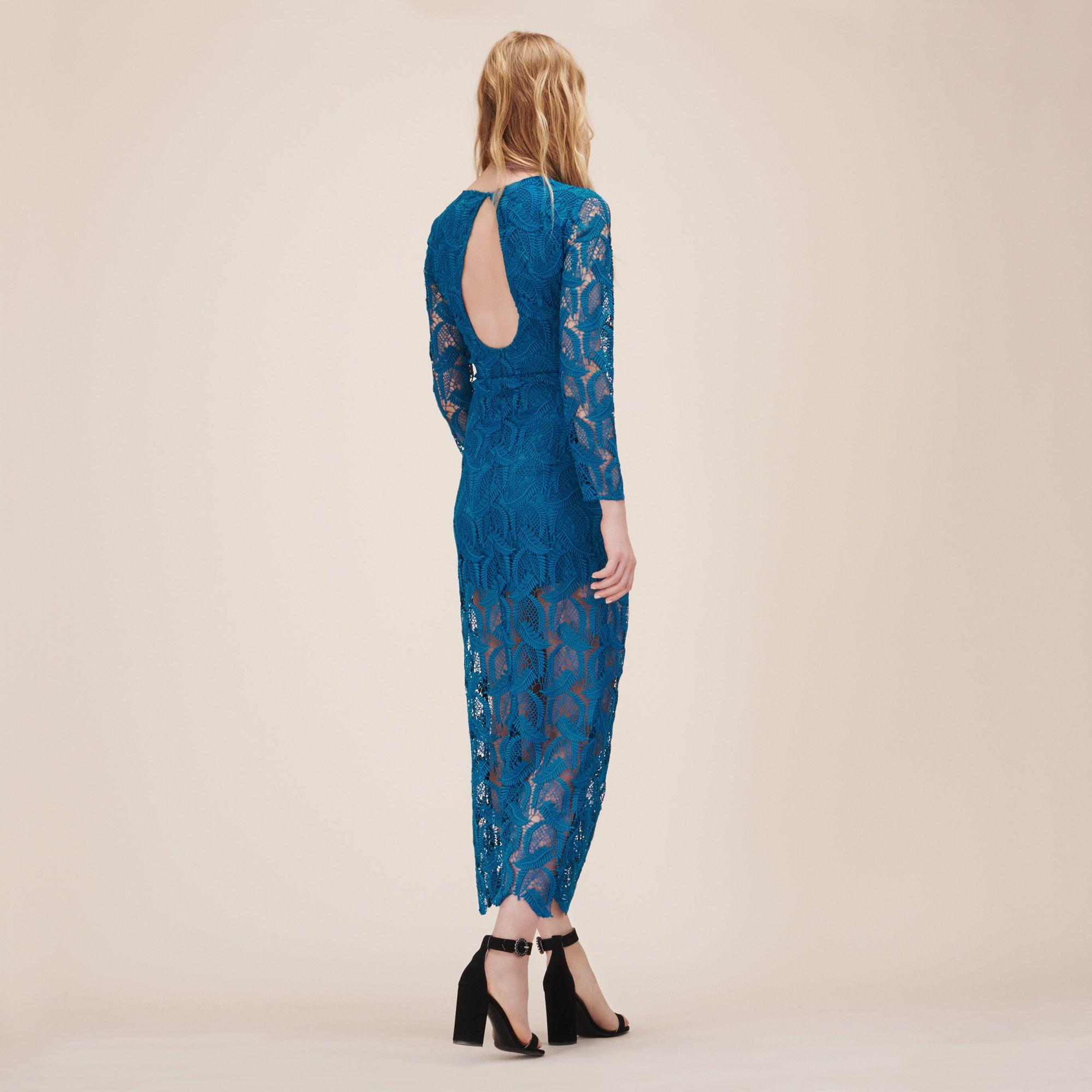 Maje ROSANE dress; long patterned lace dress