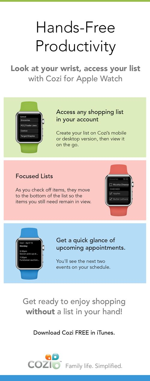 Simplify shopping and get organized with Cozi for Apple